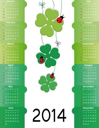 Cute and green calendar on 2014 year Stock Vector - 22126741