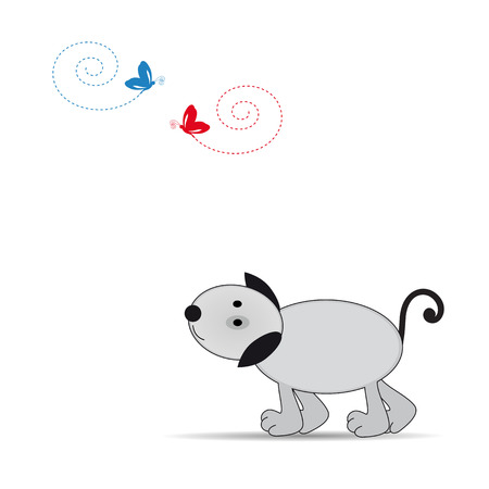 Cute and happy dog in color grey Vector
