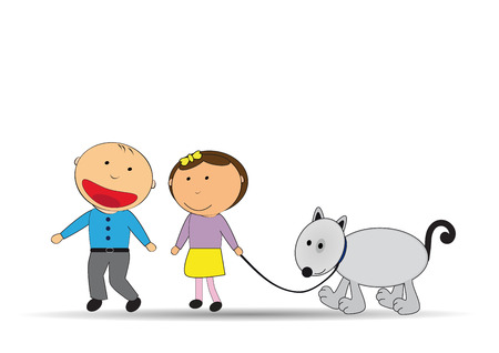Happy kids and dog on the walk Vector