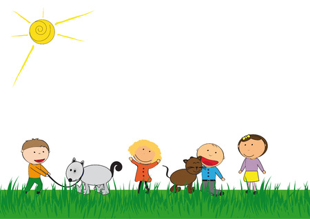 Happy kids and cat and dog playing outside Stock Vector - 22962503