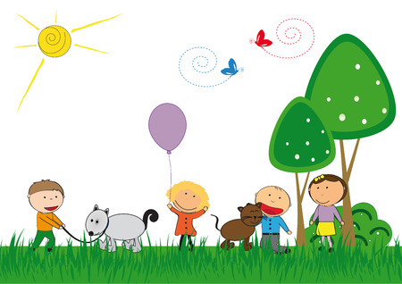 kid pointing: Happy kids and cat and dog playing outside Illustration