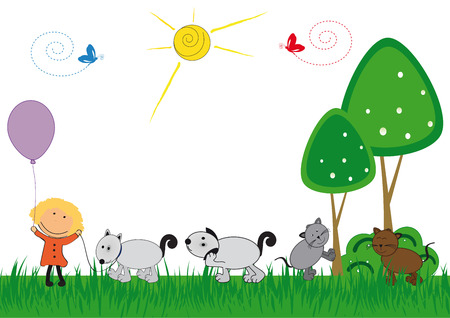 cats playing: Happy kids and cat and dog playing outside Illustration
