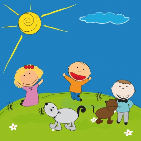 Happy kids and cat and dog playing outside Vector