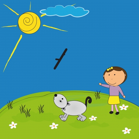 brown pussy: Happy girl and her dog playing outside Illustration