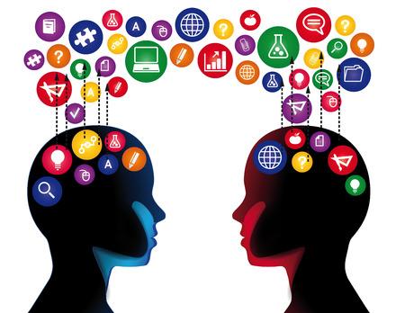 社会教育通信の概念  イラスト・ベクター素材