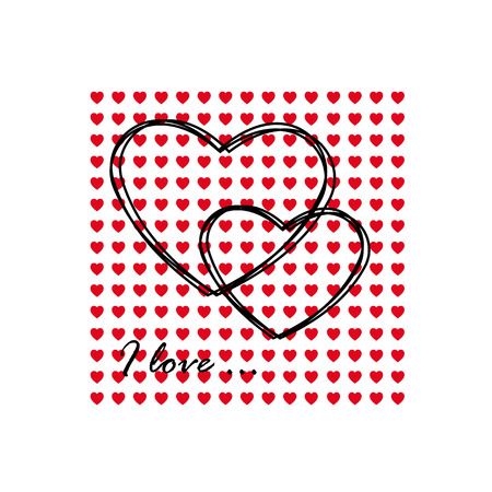 Greeting card of hearts Vector