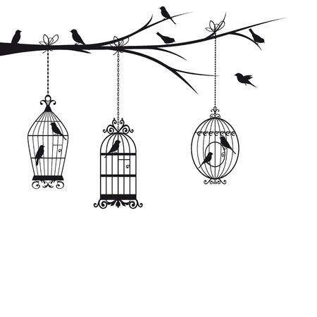 Birds in cage birds Illustration