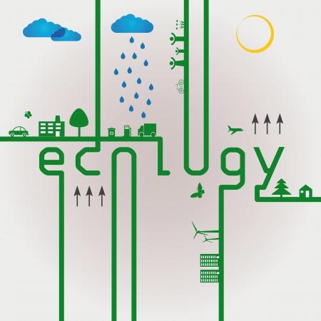 Resumen concepto de ecología verde con la palabra eco Ilustración de vector