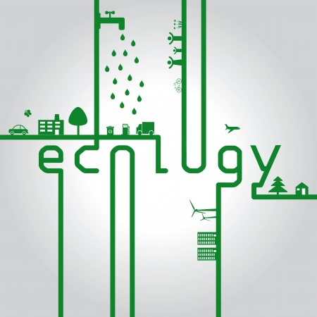 Abstract ecology green concept with word eco Vector