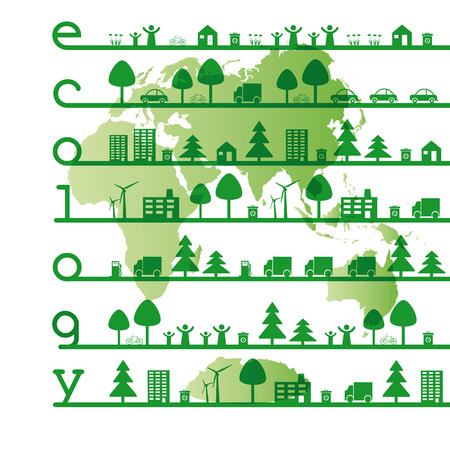 Abstract ecology green concept with word eco Stock Vector - 24351096