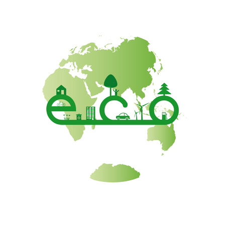 Abstract ecology green concept with word eco Stock Vector - 24351097