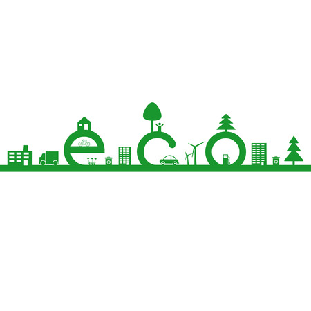 Abstract ecology green concept with word eco Stock Vector - 24351099