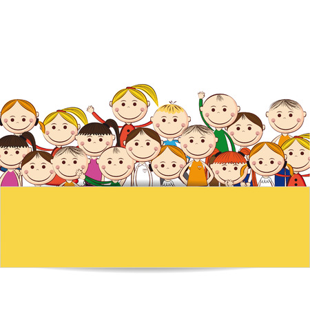 animated boy: Small and smile boys and girls with banner Illustration