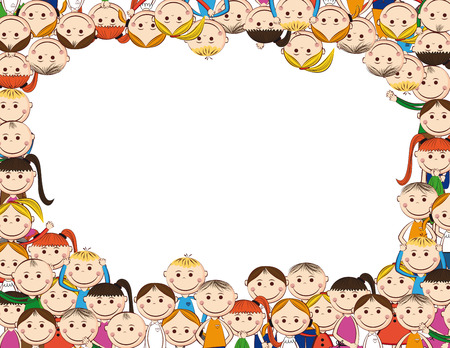Frame with small and smile boys and girls  Vector