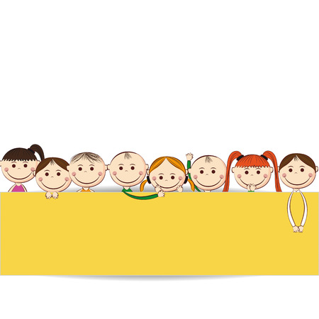 Kleine en glimlach jongens en meisjes met banner