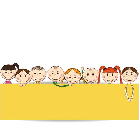 Piccole e sorriso ragazzi e ragazze con banner Archivio Fotografico - 24814442