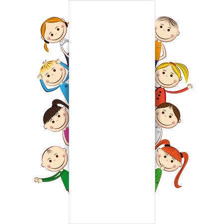 nursery school: Small and smile boys and girls with banner Illustration