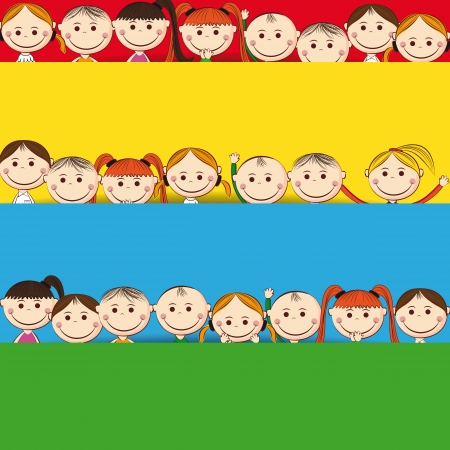 Small and smile boys and girls with banner Stock Vector - 24827604