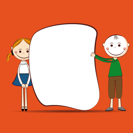 Small and smile boy and girl with banner Stock Vector - 24827606