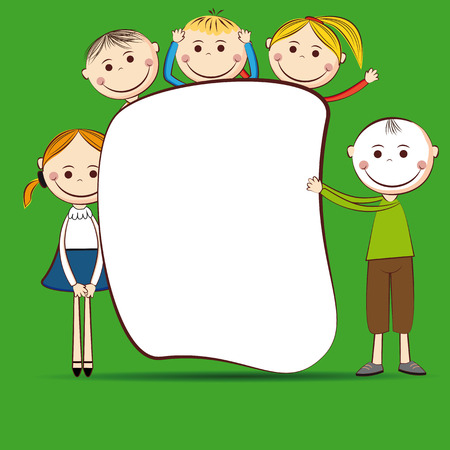 Small and smile boys and girls with banner Vector