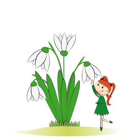 Small and smile girl in spring garden Stock Vector - 24827609