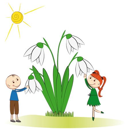 Small and smile boy and girl in spring garden Stock Vector - 24827610