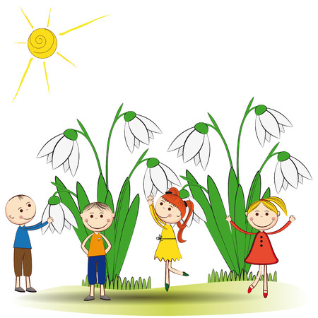 Small and smile boys and girls in spring garden Vector
