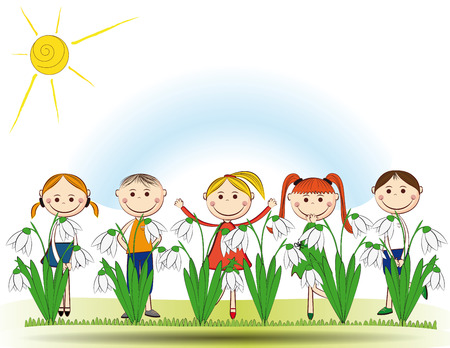 Small and smile boys and girls in spring garden Stock Vector - 24827613