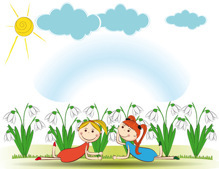 小さな春の庭の女の子の笑顔と  イラスト・ベクター素材