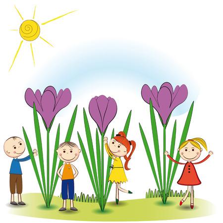 小と笑顔の男の子と女の子春の庭で