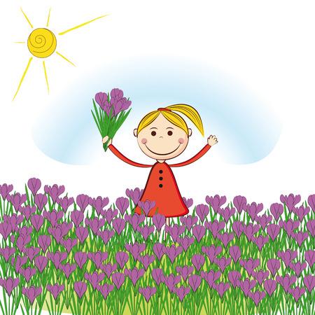Small and smile girl in spring garden Stock Vector - 24824384