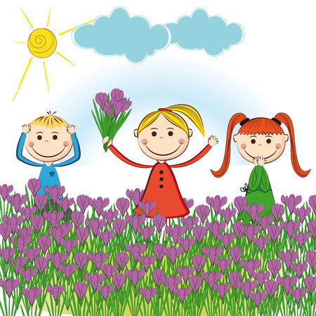 Small and smile boys and girls in spring garden Stock Vector - 24827698