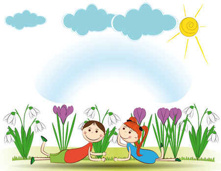 Small and smile boy and girl in spring garden Stock Vector - 24827700