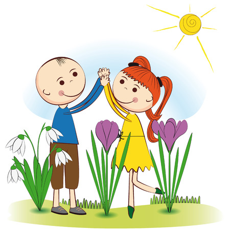 Small and smile boy and girl in spring garden Vector