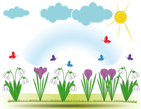 Cute spring background with violet crocuses and snowdrops Vector