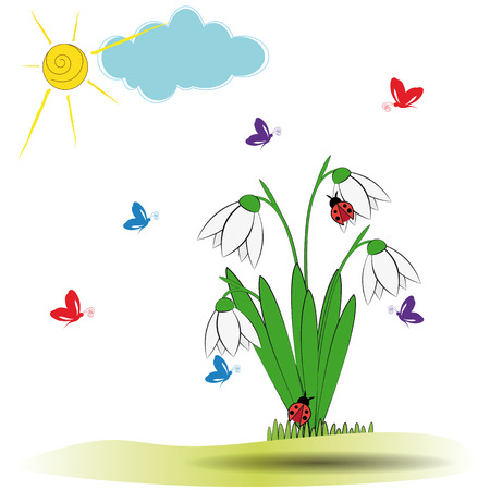 Cute spring background with snowdrops and buttersfly Stock Vector - 24827712