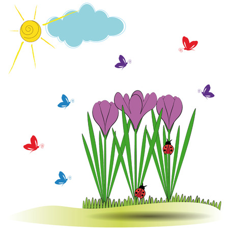 Cute spring background with violet crocuses and butterfly Stock Vector - 24827713