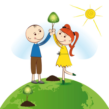 Happy girl and boy plant green trees Vector