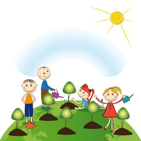 Gelukkig meisjes en jongens planten groene bomen
