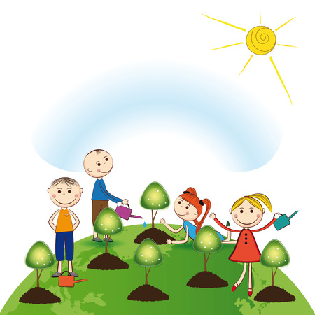 Happy girls and boys plant green trees