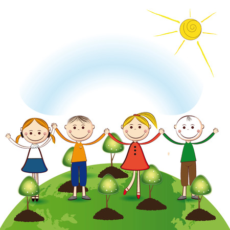Happy girls and boys plant green trees Stock Vector - 24914013