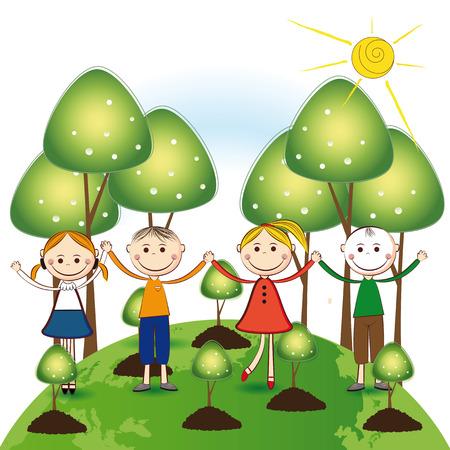 niños reciclando: Niñas felices y árboles chicos de plantas verdes