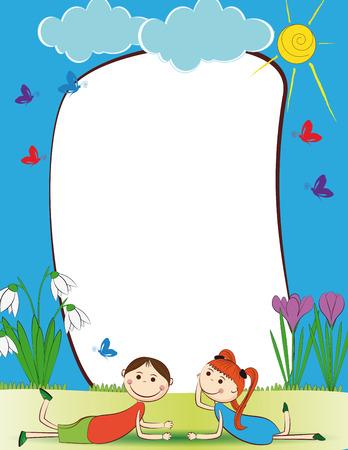 cute: Cute niños enmarcan con el muchacho y la muchacha feliz Vectores