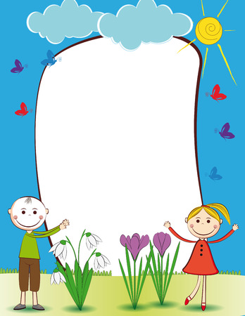 animated boy: Cute kids frame with happy boy and girl