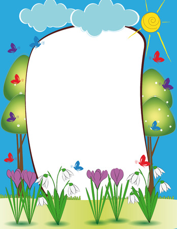 cartoon: Cute kids frame with colorful flowers and butterflies