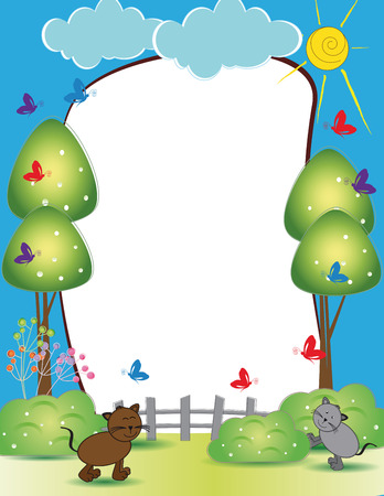 Cute kids frame with happy cats and butterflies Vector