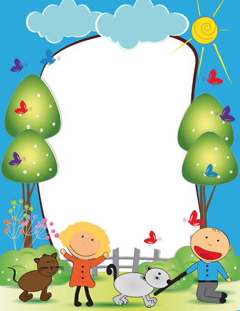 Cute kids frame with happy boy and girl Vector