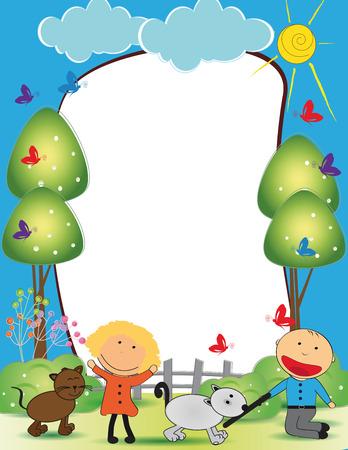 summer trees: Cute ni�os enmarcan con el muchacho y la muchacha feliz Vectores