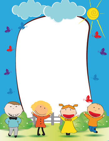 animated boy: Cute kids frame with happy boys and girls