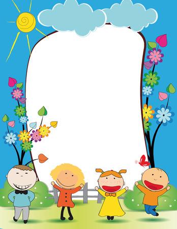 幸せな男の子と女の子でかわいい子供たちフレーム  イラスト・ベクター素材